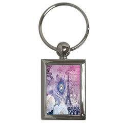 Peacock Feather White Rose Paris Eiffel Tower Key Chain (Rectangle)