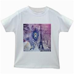 Peacock Feather White Rose Paris Eiffel Tower Kids' T-shirt (White)