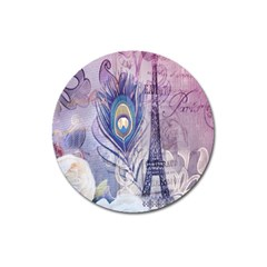 Peacock Feather White Rose Paris Eiffel Tower Magnet 3  (Round)