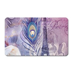 Peacock Feather White Rose Paris Eiffel Tower Magnet (Rectangular)