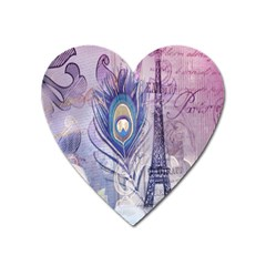 Peacock Feather White Rose Paris Eiffel Tower Magnet (Heart)