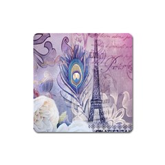 Peacock Feather White Rose Paris Eiffel Tower Magnet (Square)