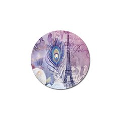 Peacock Feather White Rose Paris Eiffel Tower Golf Ball Marker 10 Pack