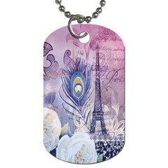 Peacock Feather White Rose Paris Eiffel Tower Dog Tag (Two-sided)