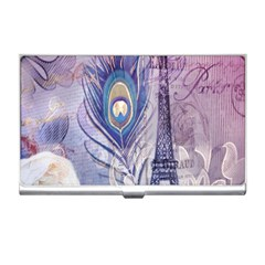 Peacock Feather White Rose Paris Eiffel Tower Business Card Holder