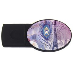 Peacock Feather White Rose Paris Eiffel Tower 2GB USB Flash Drive (Oval)