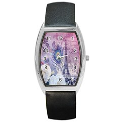 Peacock Feather White Rose Paris Eiffel Tower Tonneau Leather Watch