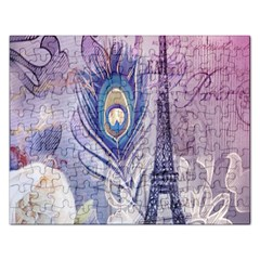Peacock Feather White Rose Paris Eiffel Tower Jigsaw Puzzle (Rectangle)