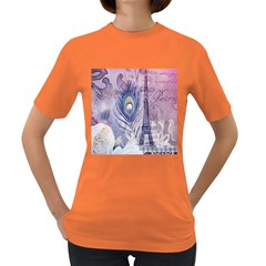 Peacock Feather White Rose Paris Eiffel Tower Womens' T-shirt (Colored)