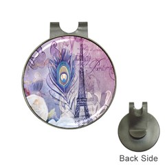 Peacock Feather White Rose Paris Eiffel Tower Hat Clip with Golf Ball Marker