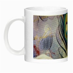 Peacock Feather White Rose Paris Eiffel Tower Glow in the Dark Mug