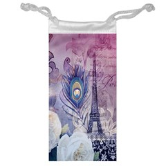 Peacock Feather White Rose Paris Eiffel Tower Jewelry Bag