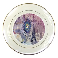 Peacock Feather White Rose Paris Eiffel Tower Porcelain Display Plate