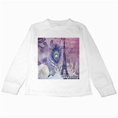 Peacock Feather White Rose Paris Eiffel Tower Kids Long Sleeve T-Shirt