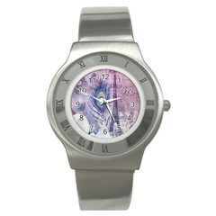Peacock Feather White Rose Paris Eiffel Tower Stainless Steel Watch (Unisex)