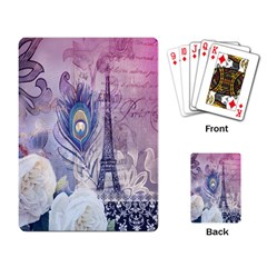 Peacock Feather White Rose Paris Eiffel Tower Playing Cards Single Design