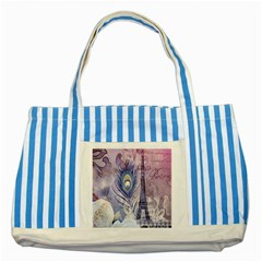 Peacock Feather White Rose Paris Eiffel Tower Blue Striped Tote Bag