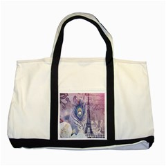 Peacock Feather White Rose Paris Eiffel Tower Two Toned Tote Bag