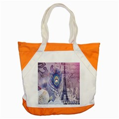 Peacock Feather White Rose Paris Eiffel Tower Accent Tote Bag