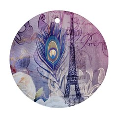 Peacock Feather White Rose Paris Eiffel Tower Round Ornament (two Sides)