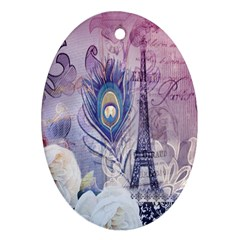 Peacock Feather White Rose Paris Eiffel Tower Oval Ornament (Two Sides)