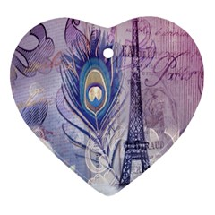 Peacock Feather White Rose Paris Eiffel Tower Heart Ornament (two Sides)