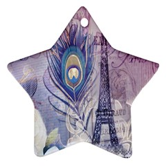 Peacock Feather White Rose Paris Eiffel Tower Star Ornament (Two Sides)
