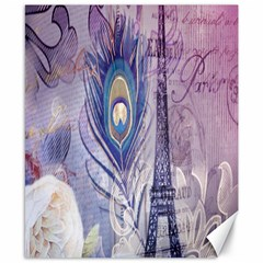 Peacock Feather White Rose Paris Eiffel Tower Canvas 8  X 10  (unframed)