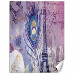 Peacock Feather White Rose Paris Eiffel Tower Canvas 12  x 16  (Unframed)