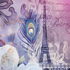 Peacock Feather White Rose Paris Eiffel Tower Canvas 16  x 16  (Unframed)