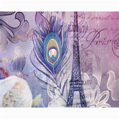 Peacock Feather White Rose Paris Eiffel Tower Canvas 16  x 20  (Unframed)