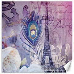 Peacock Feather White Rose Paris Eiffel Tower Canvas 20  X 20  (unframed)