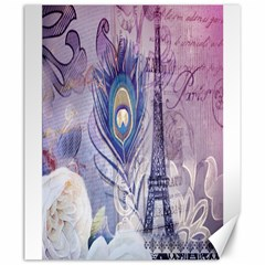 Peacock Feather White Rose Paris Eiffel Tower Canvas 20  x 24  (Unframed)