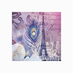Peacock Feather White Rose Paris Eiffel Tower Canvas 20  x 30  (Unframed)
