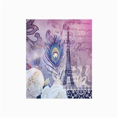 Peacock Feather White Rose Paris Eiffel Tower Canvas 24  x 36  (Unframed)