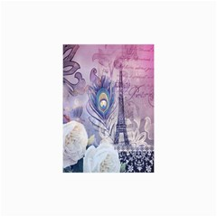 Peacock Feather White Rose Paris Eiffel Tower Canvas 36  x 48  (Unframed)