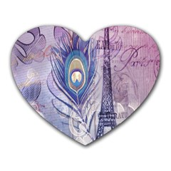 Peacock Feather White Rose Paris Eiffel Tower Mouse Pad (Heart)