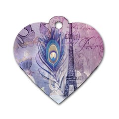 Peacock Feather White Rose Paris Eiffel Tower Dog Tag Heart (One Sided)