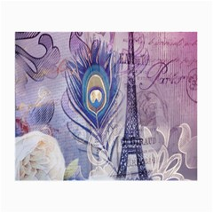 Peacock Feather White Rose Paris Eiffel Tower Glasses Cloth (Small, Two Sided)