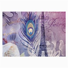 Peacock Feather White Rose Paris Eiffel Tower Glasses Cloth (Large, Two Sided)