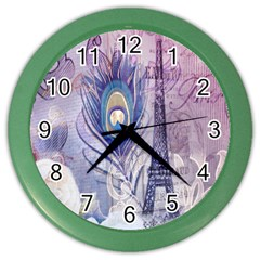 Peacock Feather White Rose Paris Eiffel Tower Wall Clock (color)