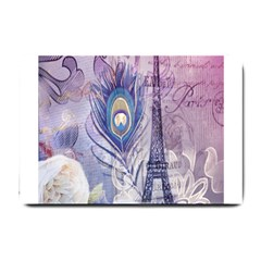 Peacock Feather White Rose Paris Eiffel Tower Small Door Mat