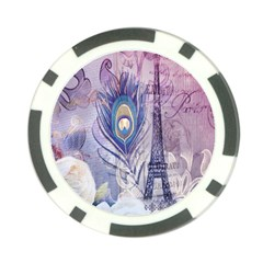 Peacock Feather White Rose Paris Eiffel Tower Poker Chip