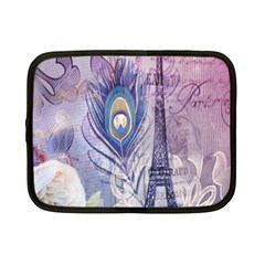 Peacock Feather White Rose Paris Eiffel Tower Netbook Case (small)