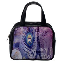 Peacock Feather White Rose Paris Eiffel Tower Classic Handbag (One Side)