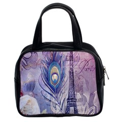 Peacock Feather White Rose Paris Eiffel Tower Classic Handbag (Two Sides)