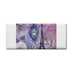 Peacock Feather White Rose Paris Eiffel Tower Hand Towel