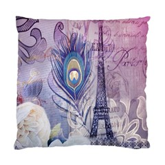 Peacock Feather White Rose Paris Eiffel Tower Cushion Case (Two Sided)