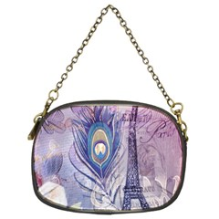 Peacock Feather White Rose Paris Eiffel Tower Chain Purse (two Sided)