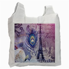 Peacock Feather White Rose Paris Eiffel Tower Recycle Bag (One Side)